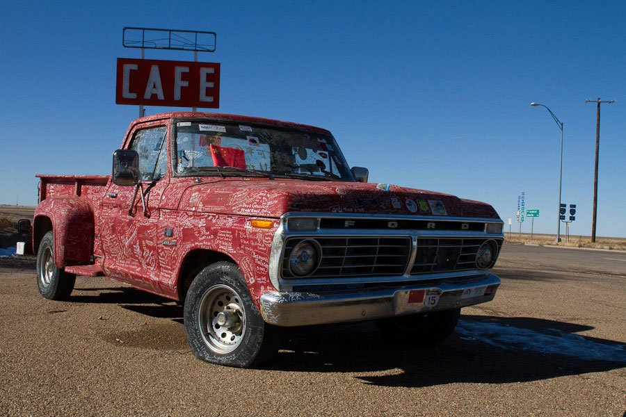 Pimped out cars at Midpoint of Route 66