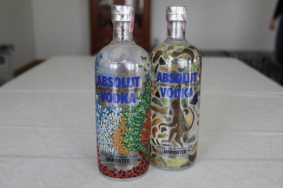 Absolut Monkey & Absolut Butterfly 1 liter. One of each