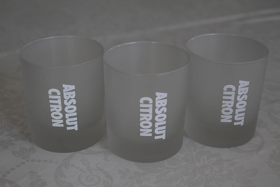 Very unique Absolut Vodka glasses. There were 6 made as a prototype. 3 of them are in a monter at Absolut Vodka (if you have been there you might remember them) and the other 3 are here :)