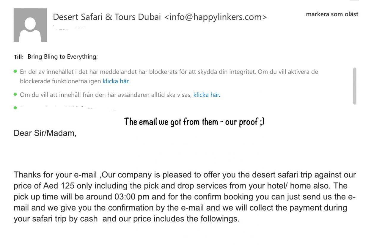 WARNING regarding - Desert Safari with Happylinkers.com
