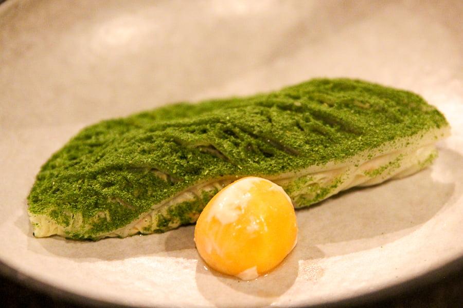 Kohlrabi with egg yolk and lardo. Laredo is some special fat.