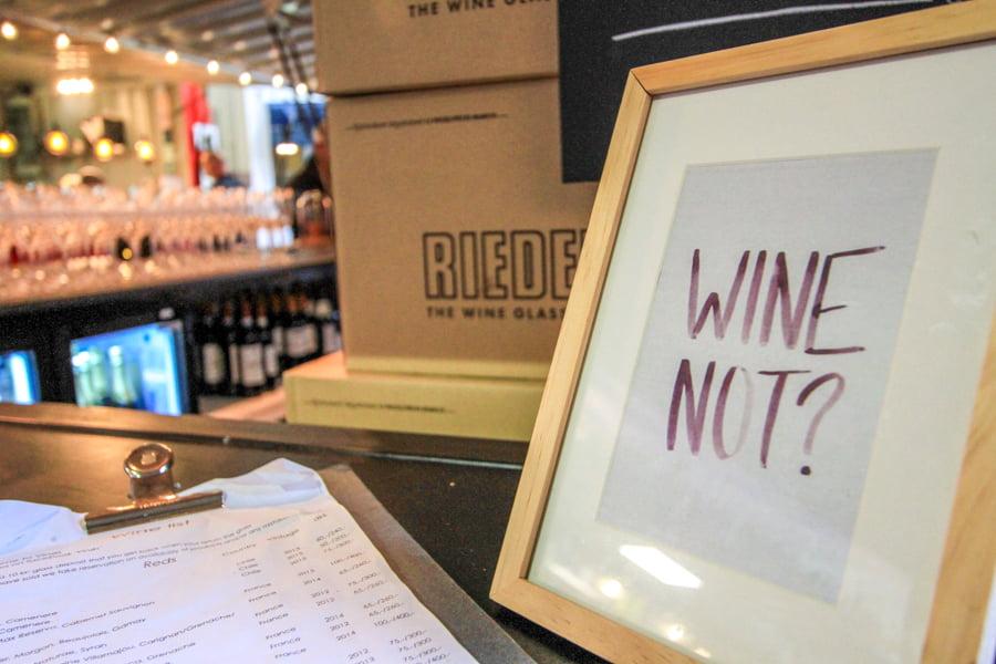 A sign Wine not at Street food, Aarhus, Denmark