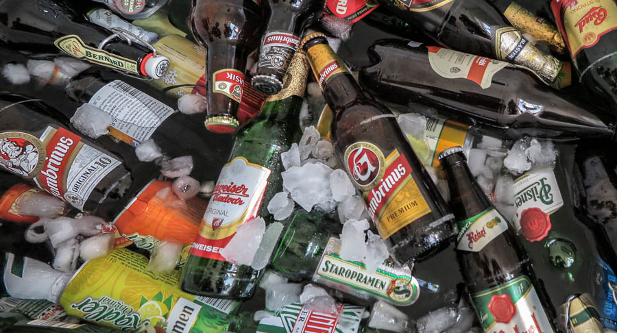 Beer bottles with ice