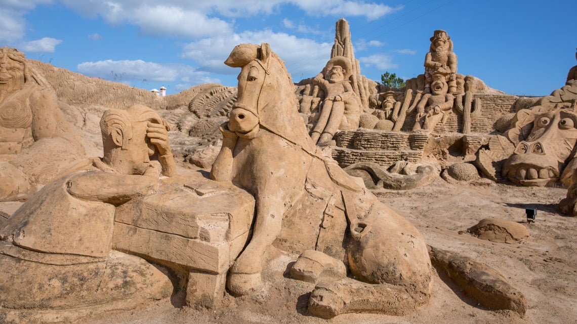 At the sand sculpture festival in Portugal.
