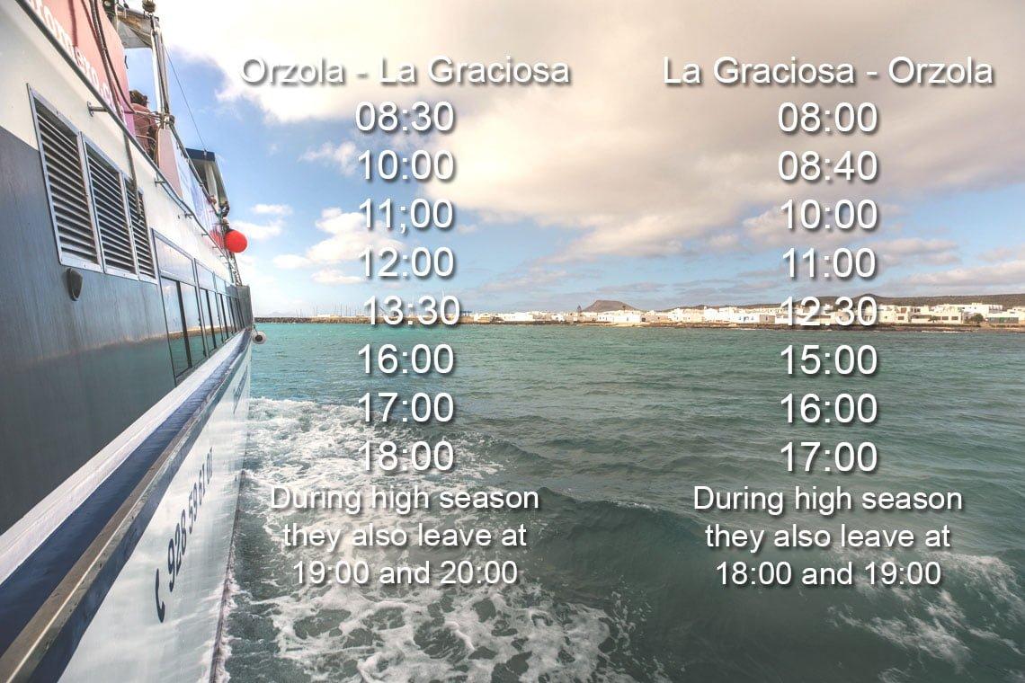 La Graciosa timetable for the ferry from orzola to La Graciosa and back