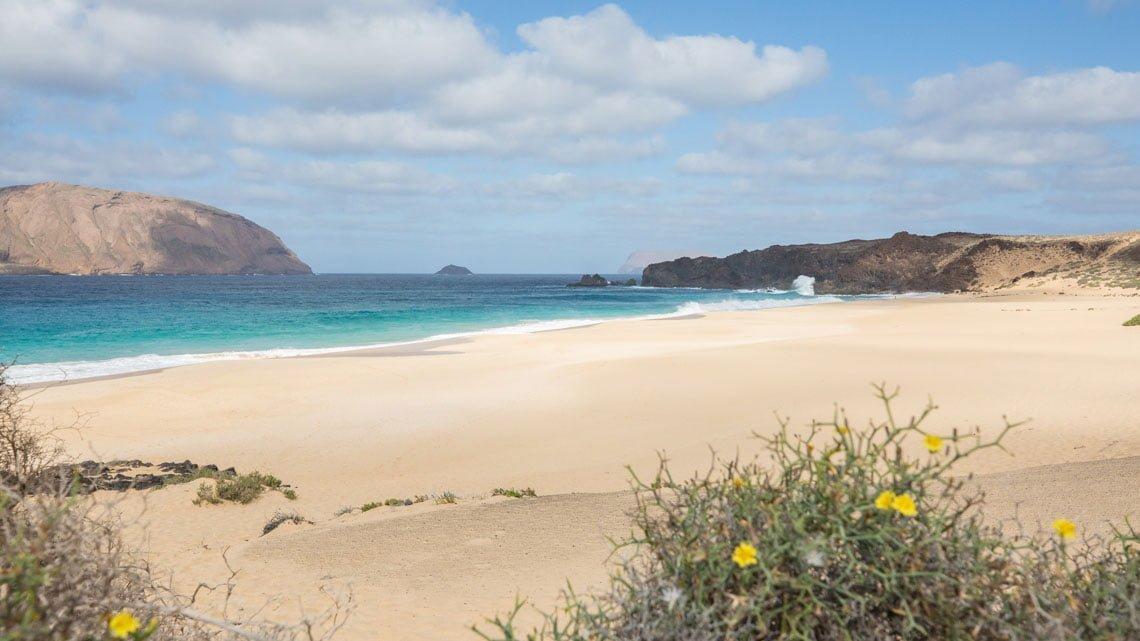 The beach Playa de las Conchas at La Graciosa