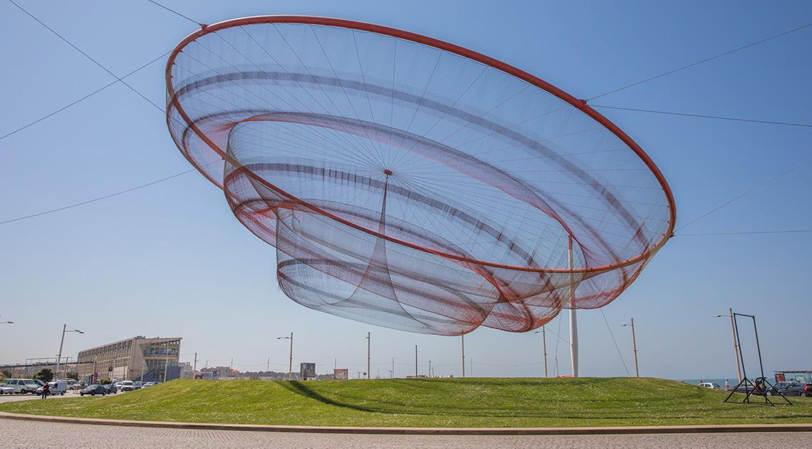 Large fishing net outside of Porto, Portugal
