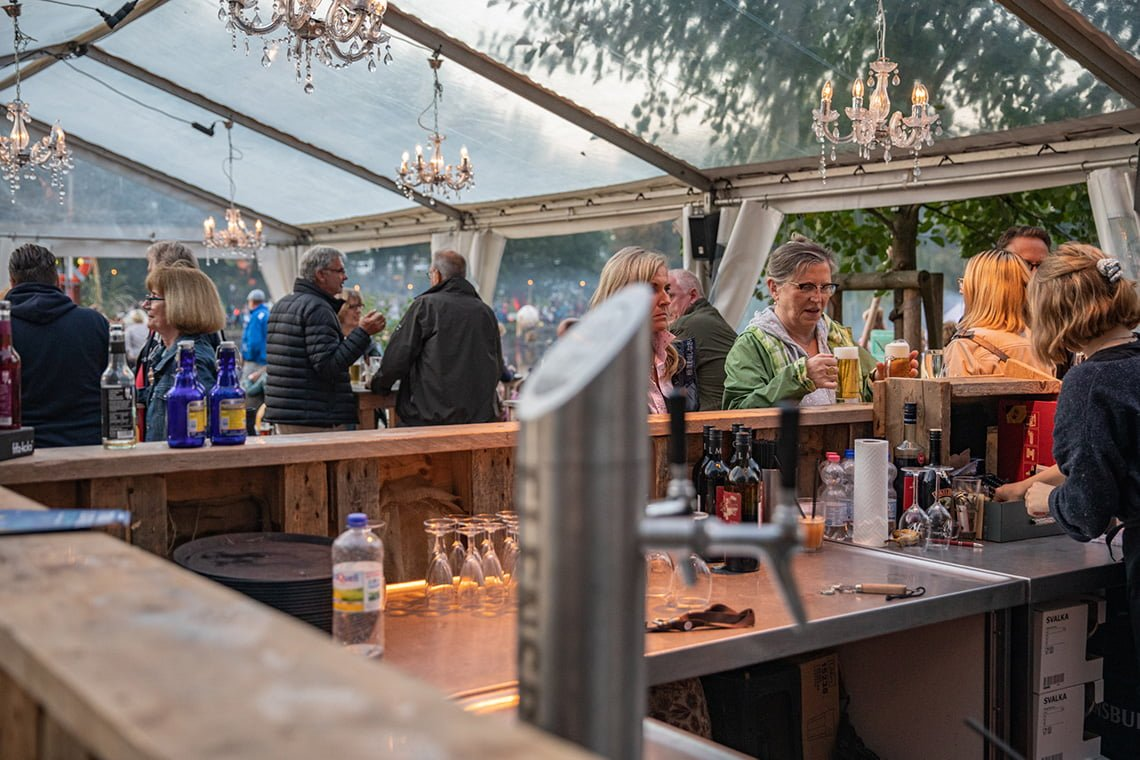 Enjoy a glass of beer at the light festival