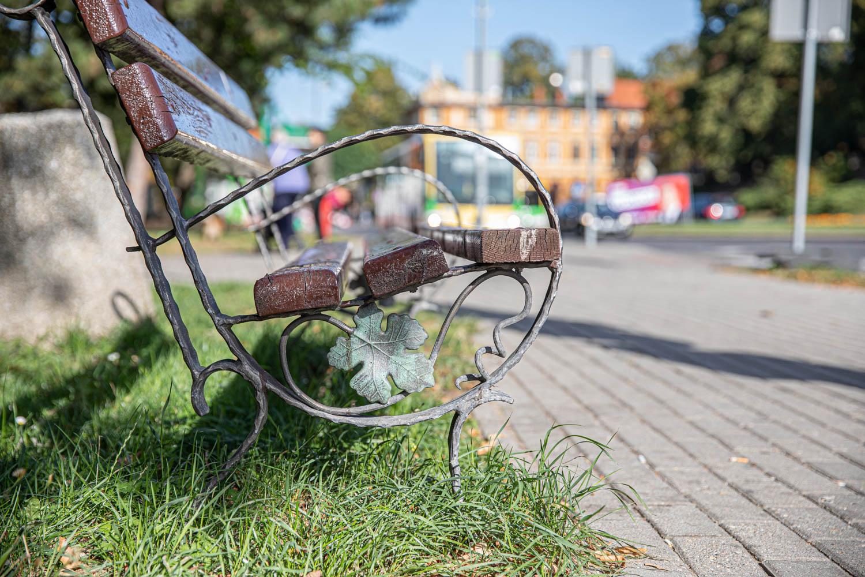 A wine ranked bench in Zielona Gora, Poland