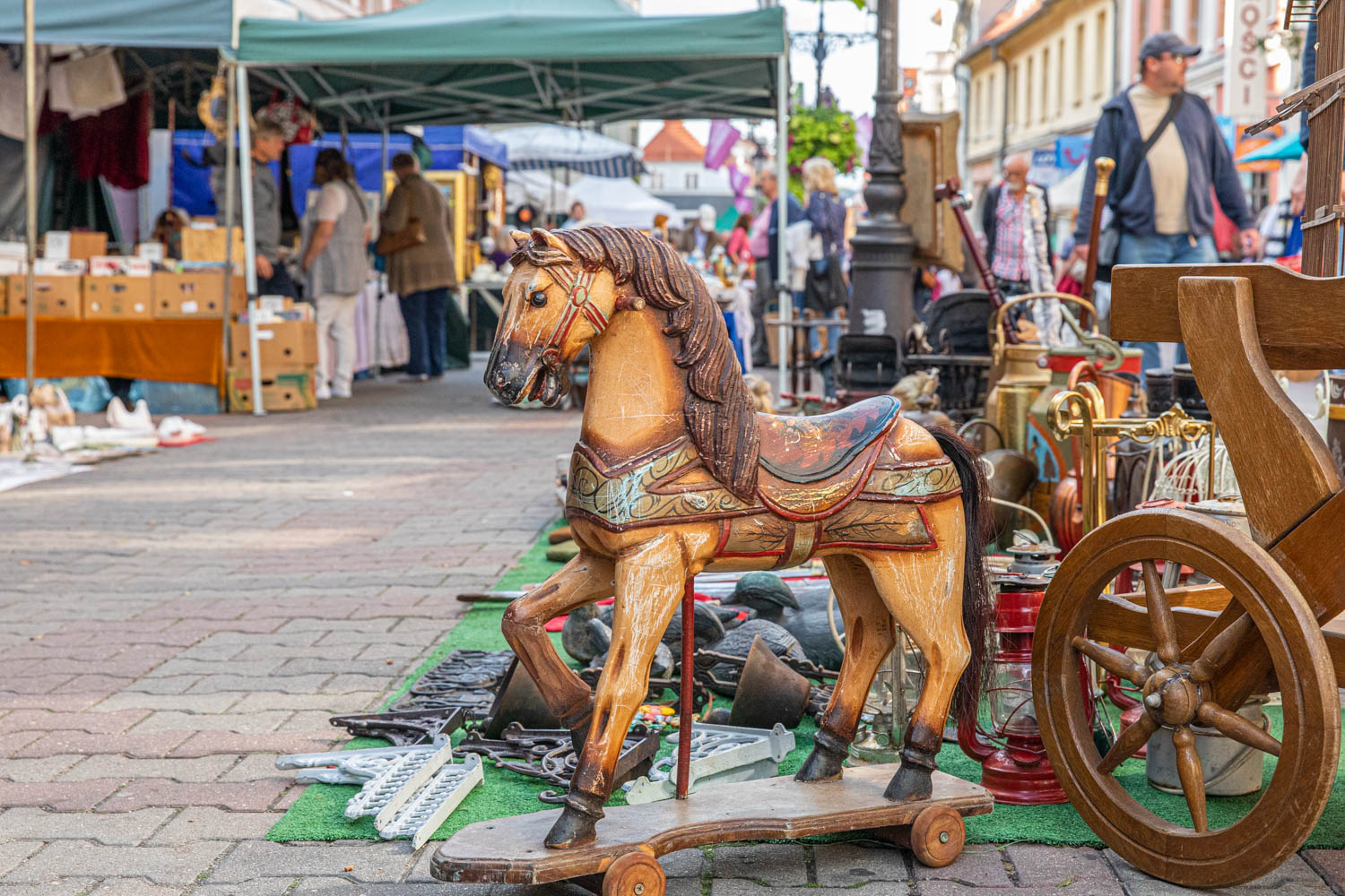 a wooden horse for sale at the Market at the wine festival in Poland