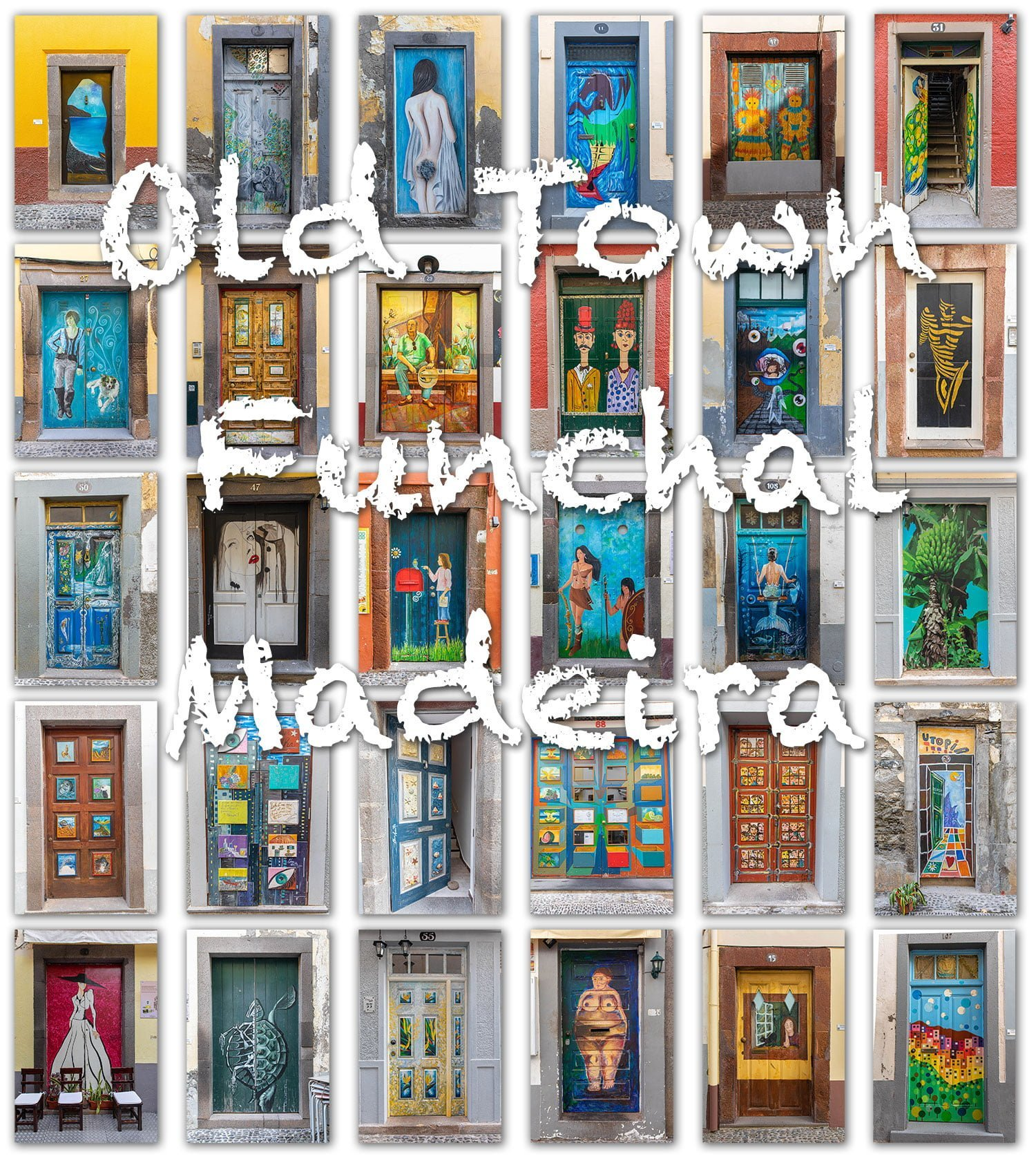 Old Town Funchal, Madeira has many doors with streetart