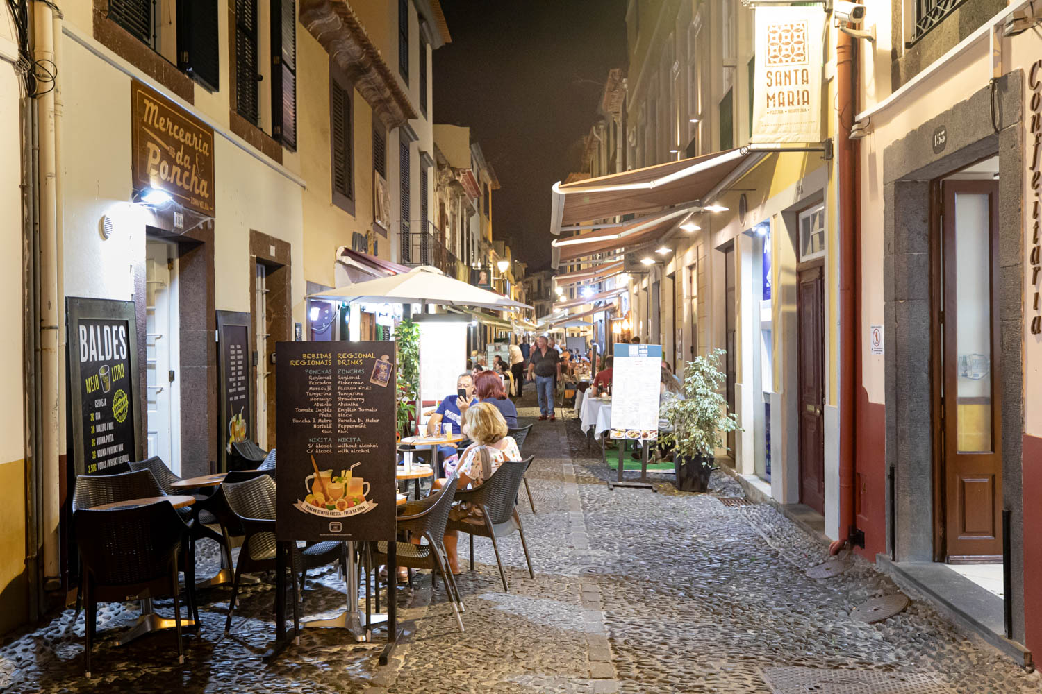Bar and restaurant street in old town Funchal