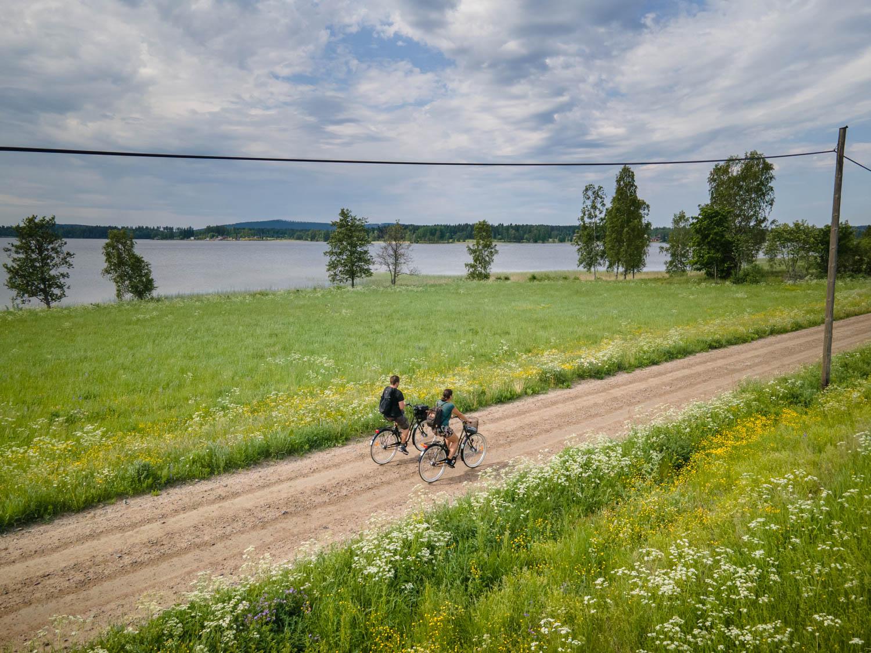 Biking in Dalarna during summer.