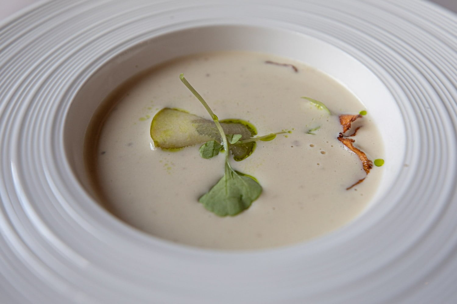 Artichoke soup with pickled apple